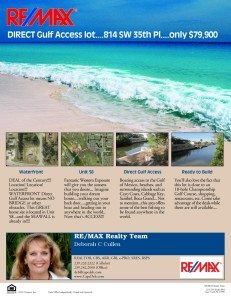 SOLD!! Direct Access Waterfront Lot!  Fabulous location! $69,900 REDUCED