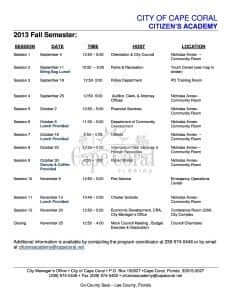 Cape Coral Citizen's Academy Classes….