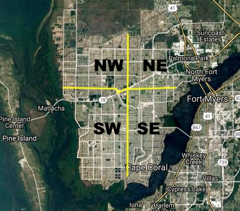 The 4 sections of Cape Coral